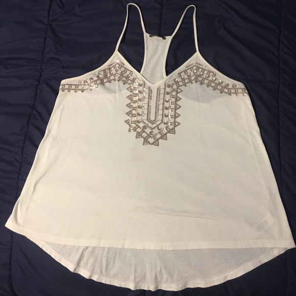 079bb609 Express Tops | Medium White Tank With Rose Gold Sequins | Poshmark